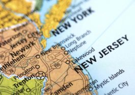 State of New Jersey State, USA. Detail from the World Map.